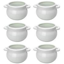 Jogo 6 Petisqueira Mini Panelas em Cerâmica Branca Caçarola - Nova