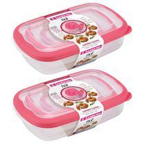 Jogo 6 potes com tampa para mantimentos alimentos frutas geladeira freezer microondas Sanremo Flor -