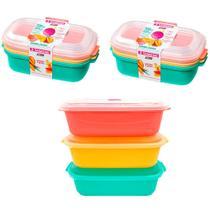 Jogo 6 potes de mantimentos alimentos frutas ração 1100ml coloridos com tampa BPA FREE Sanremo -