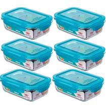 Jogo 6 Potes de Vidro Herméticos Marmitas Retangulares 550ml Sanremo Tampa Azul -