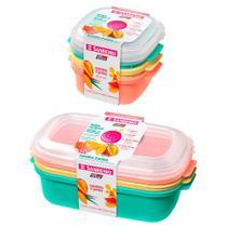 Jogo 6 potes porta mantimentos 480ml 1100ml para freezer microondas Sanremo -