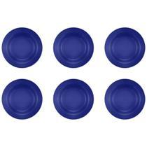 Jogo 6 Pratos Fundos Donna Azul 22cm Biona -