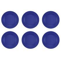 Jogo 6 Pratos Rasos Donna Azul 24cm Biona -