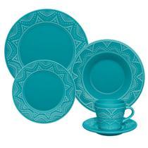 Jogo 6 Pratos Rasos Serena Turquesa Oxford Porcelanas -