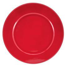 Jogo 6 Sousplat Redondo Borda Decorada Vermelho 33cm - Yazi - Yangzi