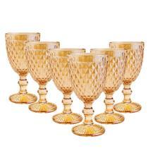 Jogo 6 Taças Abacaxi Ambar Metalizado Água suco Vinho 300ml - Casambiente