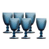 Jogo 6 Taças Bico de abacaxi Azul 300ml Água Suco - Casambiente