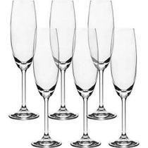 Jogo 6 Taças Champagne 220ml Cristal Bohemia -