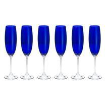 Jogo 6 taças champanhe cristal gastro colibri cobalto 220ml bohemia -