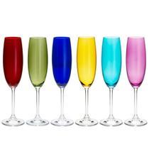 Jogo 6 Taças Cristal eco  220ml Para Champagne Gastro/Colibri Coloridas Bohemia -
