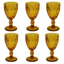 Jogo 6 Taças Matelassê Vidro 280ml 17cm Âmbar Dynasty -