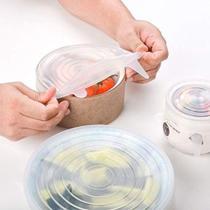 Jogo 6 Tampas De Panela Silicone Reutilizável Elástica Transparente - Jfz -