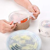 Jogo 6 Tampas De Panela Silicone Reutilizável Elástica Transparente - Jfz