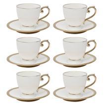 Jogo 6 xícaras 200ml para chá de porcelana branca e dourado com pires Paddy Wolff - 25113 -