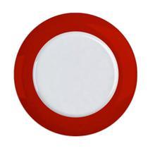 Jogo 6un Prato Raso Versa Borda Vermelho 27,5cm Porcelana  Germer -