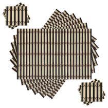 Jogo Americano Bambu 12 peças Preto/Bege - Galleria 77