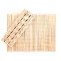 Jogo Americano em Bambu 30 x 40 cm Natural 04 Lugares Servico de Jantar Cozinha Mesa Posta - Mundiart