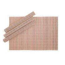 Jogo Americano Retangular em Bambu Listrado 04 Lugares 30 x 45 cm Rústico Mesa Posta Cozinha - Mundiart