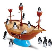 Jogo Barca dos Pinguins Com Roleta Barco Pirata Unik Toys -