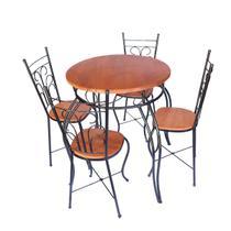 Jogo Bistro Fixo Redondo Rustico - Mesa e 4 Cadeiras - Minas Artesanato