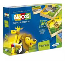 Jogo Blocos Quebra-cabeças Zoológico Infantil 36 Peças - Xalingo -