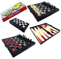 Jogo Brinquedo 3 em 1- Xadrez, Gamão e Dama Magnético Portátil - amigold