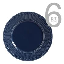 Jogo c/ 6 pratos raso roma deep blue - porto brasil -
