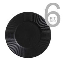 Jogo c/ 6 pratos s/mesa 1l nero preto matte - porto brasil -