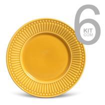 Jogo c/ 6 pratos s/mesa roma mostarda - porto brasil -