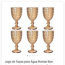 Jogo c/6  Taças para Água Roman  345ml, Vidro, Âmbar - - Rojemac
