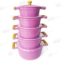 Jogo caçarola alumínio fundido rosa - Artecook