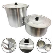 Jogo Caçarola e Caldeirão Alumínio Panela Feijoada Sopa N30 - Alumínio Extra Forte
