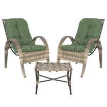 Jogo Cadeiras 2Un e Mesa p/ Jardim Edicula Varanda Descanso Trama Napoli Plus Capuccino A30 - Click Moveis Artesanais