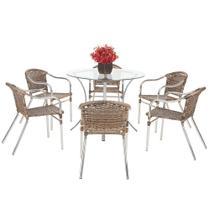 Jogo Cadeiras 6Un e Mesa Alta Floripa para Edicula Jardim Area Varanda Cozinha - Argila - Click Moveis Artesanais