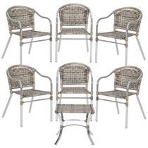 Jogo Cadeiras 6Un e Mesa de Centro Floripa para Edicula Jardim Area Varanda Descanso - Capuccino - Click Moveis Artesanais