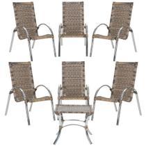 Jogo Cadeiras 6Un e Mesa de Centro Garden para Edicula Jardim Area Varanda Descanso - Argila - Click Moveis Artesanais