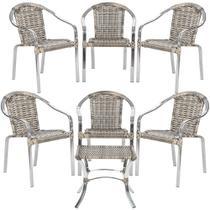 Jogo Cadeiras 6Un e Mesa de Centro Pinheiro para Edicula Jardim Area Varanda Descanso - Capuccino - Click Moveis Artesanais