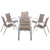 Jogo Cadeiras 6Un e Mesa sem Tampo Colombia para Jardim Area Varanda Descanso - Capuccino - Click Moveis Artesanais