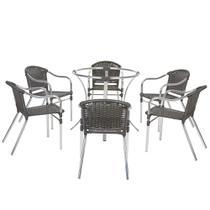 Jogo Cadeiras 6Un e Mesa sem Tampo Florida para Jardim Area Varanda Descanso - Pedra Ferro - Click Moveis Artesanais