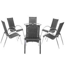 Jogo Cadeiras 6Un e Mesa sem Tampo Garden para Jardim Area Varanda Descanso - Preto - Click Moveis Artesanais