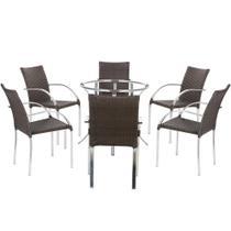 Jogo Cadeiras 6Un e Mesa sem Tampo Madri para Jardim Area Varanda Descanso - Pedra Ferro - Click Moveis Artesanais