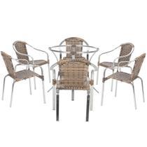 Jogo Cadeiras 6Un e Mesa sem Tampo Pinheiro para Jardim Area Varanda Descanso - Argila - Click Moveis Artesanais