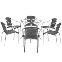 Jogo Cadeiras 6Un e Mesa sem Tampo Pinheiro para Jardim Area Varanda Descanso - Preto - Click Moveis Artesanais