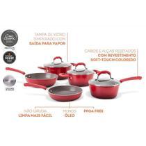 Jogo Caldeirao Aluminio Ceramic Life Select Vermelho 5 Peças - Brinox