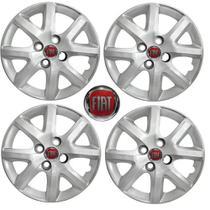 Jogo Calota Aro 13 Grand Siena EL 1.4 Palio Fiat 2014 Grid Prata 4 Peças + Emblema Resinado - Grid calotas