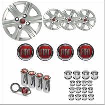 Jogo Calota Aro 13 Palio Fire 2011 à 2013 Fiat + Emblema Resinado + Tampa Ventil + Capa Parafuso - Grid