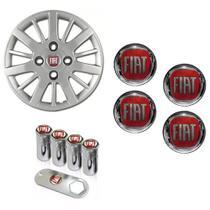 Jogo Calota Aro 13 Siena Palio Fiat 2009 2010 Grid Prata + Emblema Resinado + Tampa Ventil - Grid calotas