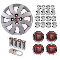 Jogo Calota Aro 14 Fiat Palio Attractive 2013 Grid Prata + Emblema Resinado + Tampa Ventil + Capa Parafuso - Grid calotas