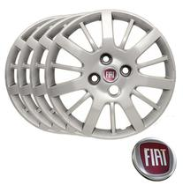 Jogo Calota Aro 14 Fiat Palio Siena Uno / Grid 073CB cor prata -