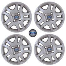Jogo Calota Aro 14 Ford Fiesta 2011 2013 Sedan Hatch Grid Prata 4 Peças + Emblema Resinado - Grid calotas